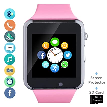 Smart Watch, Smartwatch Phone with SD Card Camera Pedometer Text Call Notification SIM Card Slot Music Player Compatible for Android Samsung Huawei ...