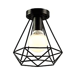 KOONTING Vintage Industrial Rustic Flush Mount Ceiling Light, Metal Pendant Lighting Lamp Fixture for Hallway,stairway,KH2433