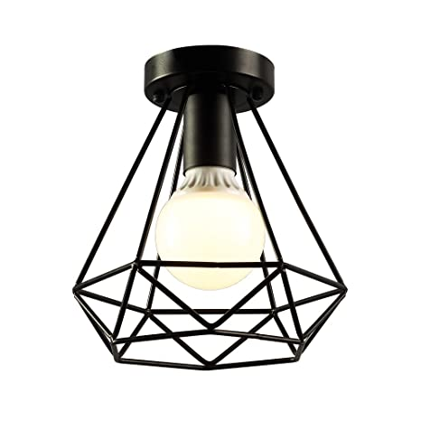 KOONTING Vintage Industrial Rustic Flush Mount Ceiling Light Metal Pendant Lighting Lamp Fixture For Hallway