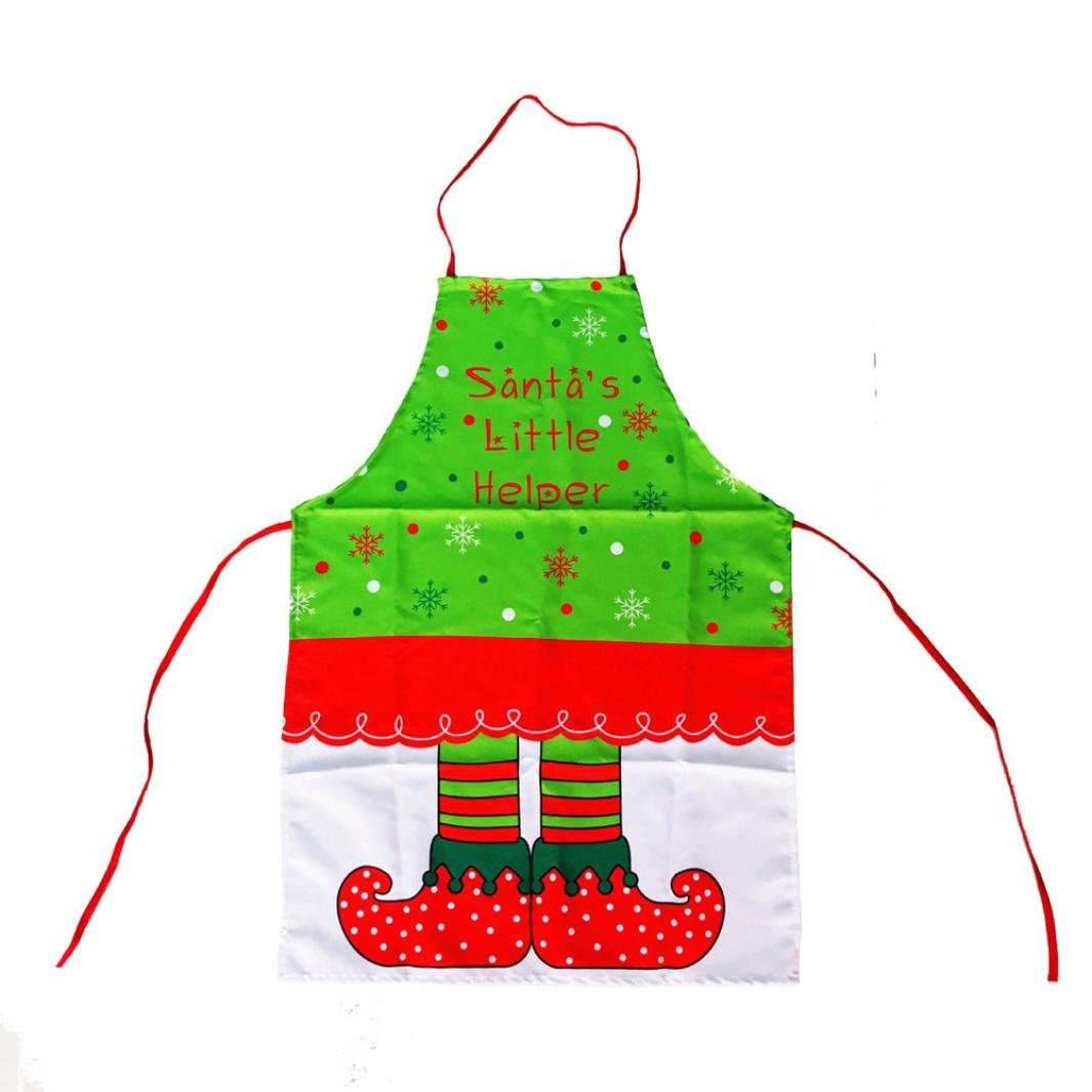 Molyveva Adjustable Bib Apron Waterdrop Resistant with Christmas Elves Printing Cooking Kitchen Aprons for Women Men Chef