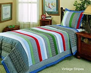 Vintage Stripes Comforter Set by Hallmart Collectibles, Twin