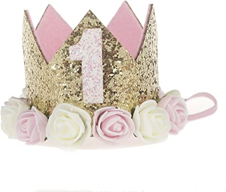 Sparkly Baby Princess Tiara Crown Birthday Party Gold Hat With Rose Flowers New