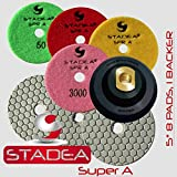 STADEA Diamond Polishing Pads 5'' Dry - Set of 8 with Rubber Backer Holder