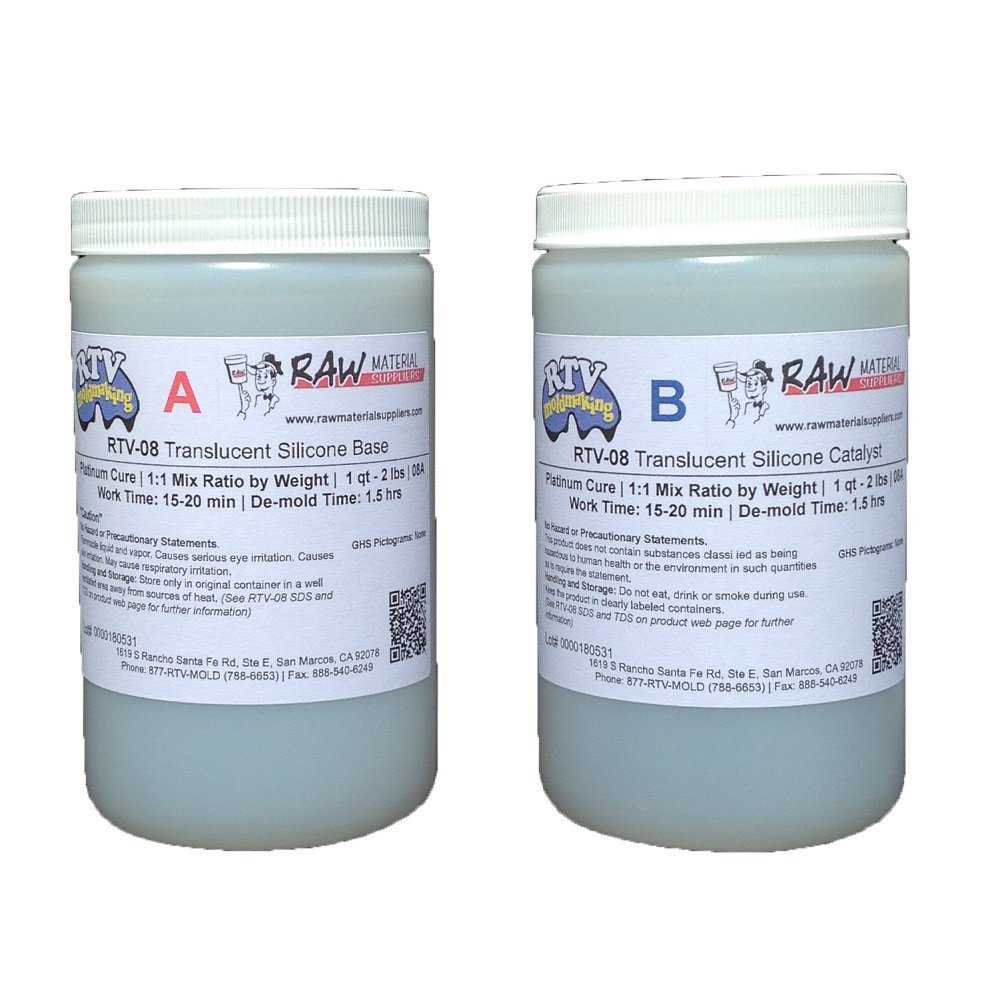 RTV-08 8A Translucent Platinum Cure RTV Silicone 4 lb kit