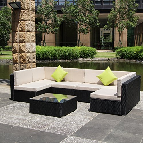 U max 7 Piece 3 7 Pieces Patio PE Rattan Wicker Sofa Sectional Furniture Set