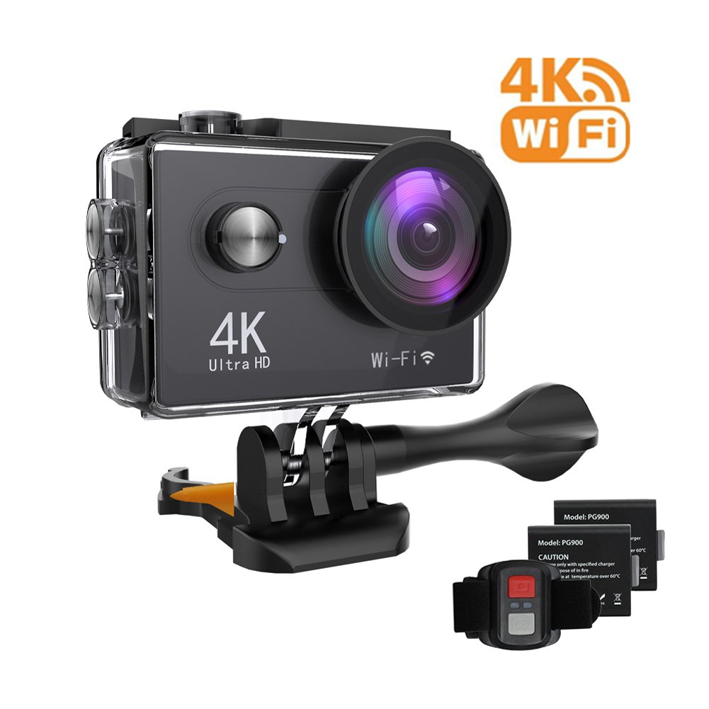 HIKL Action Camera - Ultra 4K HD Action Cam - 12MP WIFI Sports Action Camera - Waterproof Underwater 30M - Dual 2 Inch LCD display - 170°Wide Angle Lens with Multiple Accessories Kits