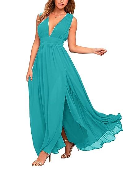 4e21890e63 WHZZ Women s Chiffon Slit Bridesmaid Dresses V-Neck Long Prom Dresses Plus  Size Aqua