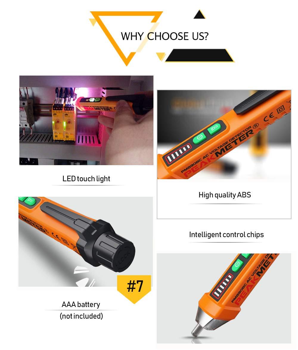 12V to 1000V Dual Range for Broad Application Voltage Test Pen Non-Contact Tester LED Flashlight