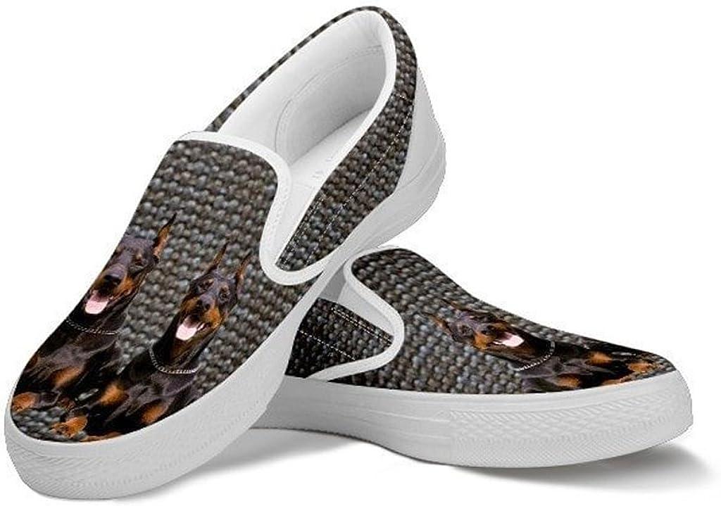 petkanvas Cute Doberman Pinscher Dog Slip Ons Shoes for Women