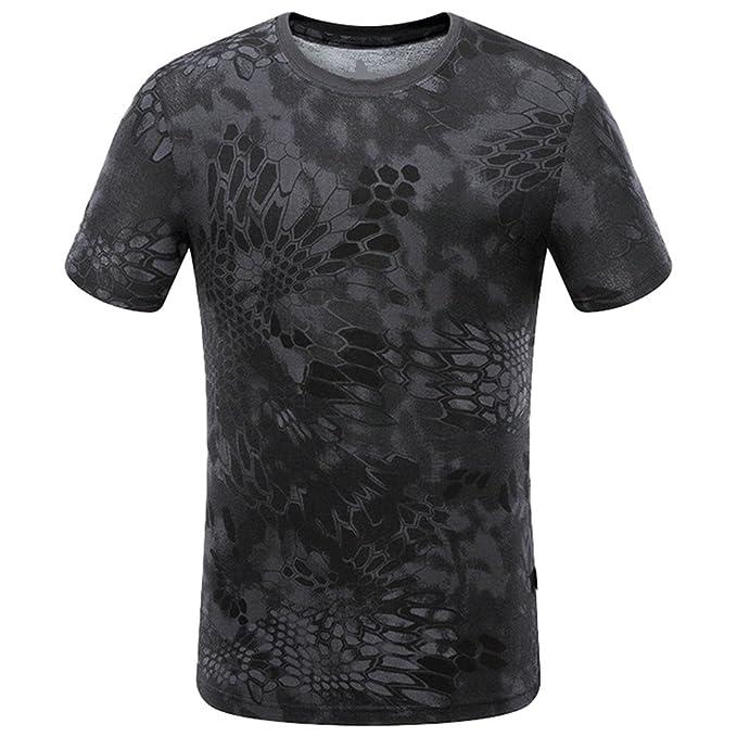 ZhiYuanAN Herren Camo Militärische T-Shirt Schnell Trocknend Atmungsaktiv  Kurze Ärmel Camouflage Shirt ACU /