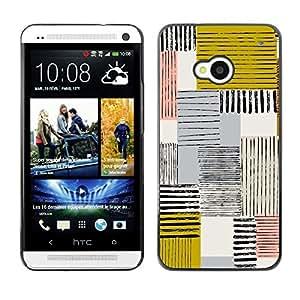TopCaseStore / la caja del caucho duro de la cubierta de protección de la piel - Abstract Mustard Yellow Lines Checkered - HTC One M7