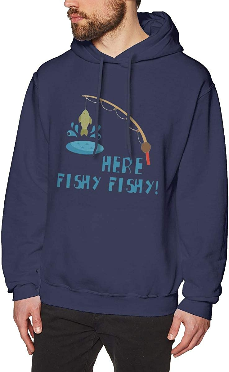 Mens Hooded Sweatshirt Here Fishy Fishy Unique Classic Fashion Style Navy
