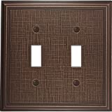 Questech Linen Cast Metal Switch Plate/Wall Plate Cover - Made in the USA (Double Toggle, Oil Rubbed Bronze)
