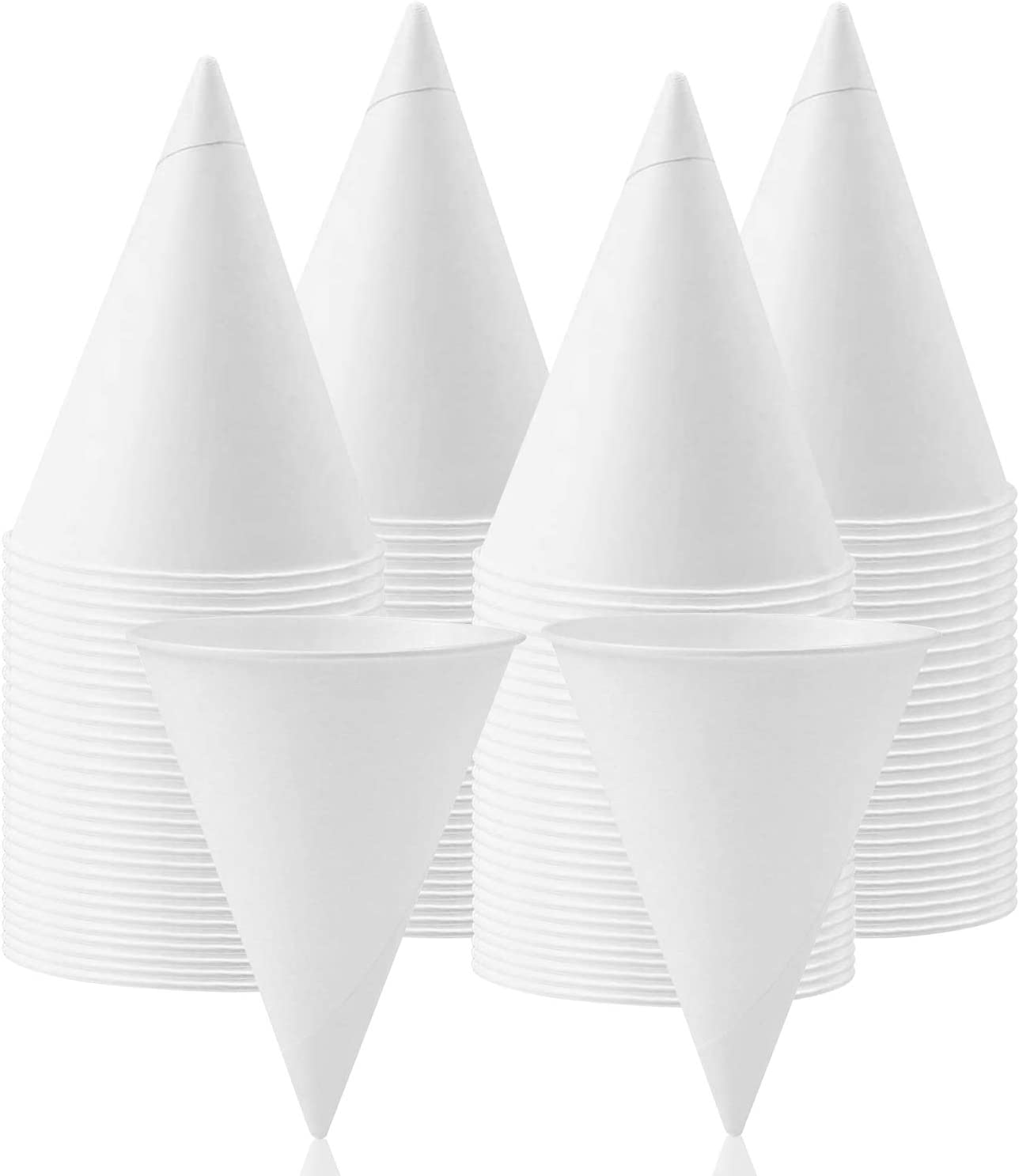 Snow Cone Cups,200 Pieces Wax Coated Leakproof Cone Paper Cups Dispenser Cups for Slush, Shaved Ice, Water -6 OZ