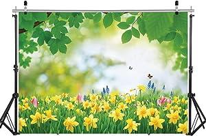 WOLADA 7x5FT Spring Backdrop Garden Photo Backdrop Butterfly Garden Backdrop Photo Studio Photo Photography Backdrop Studio Props Baby Photography Backdrop 12044