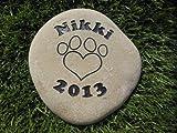 Sandblast Engraved River Stone Pet Memorial Headstone Grave Marker Dog Cat p med