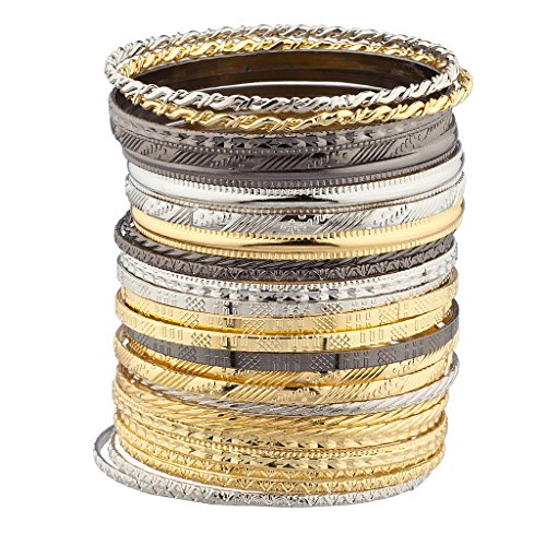 Lux Accessories Mixed Metal Textured Multiple Aztec Bangle Bracelet Set ()