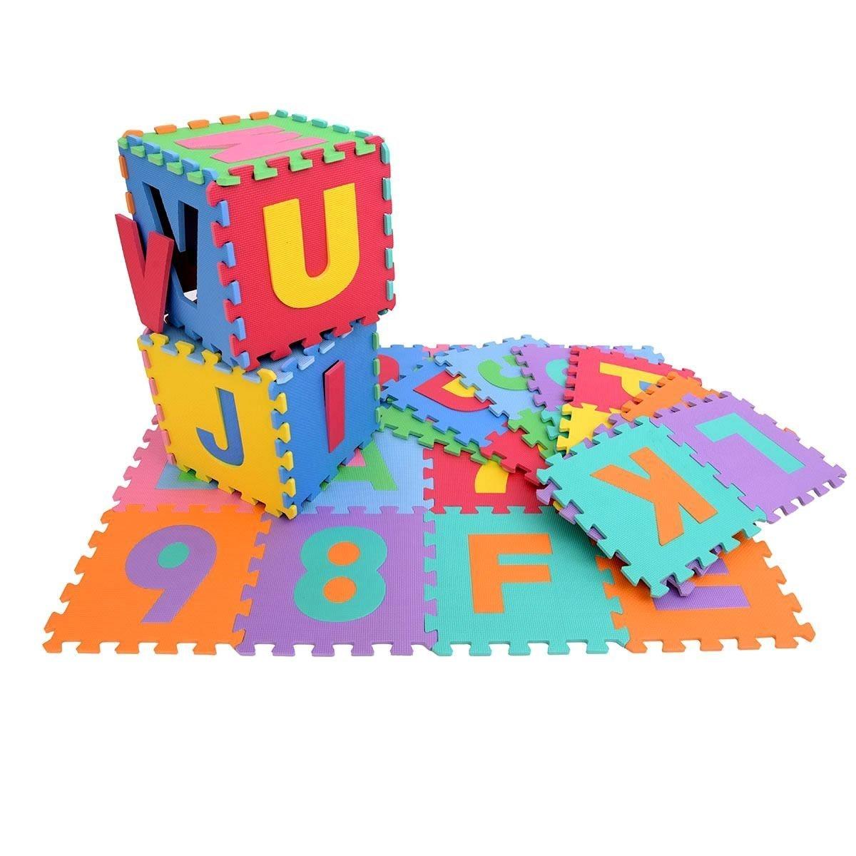para ni/ños Juego de 36 unidades de goma EVA de KRAFTZ/® dise/ño de la A a la Z y del 0 al 9 con patr/ón en forma de puzle multicolor