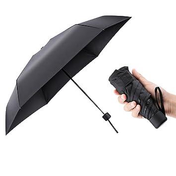 AMBOTHER Paraguas de Bolsillo 5 Pliegues Negro Paraguas Portátil Sunny Paraguas Fábrica al por Mayor Super