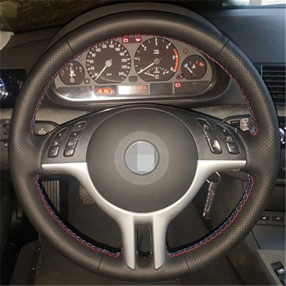 f/ür BMW E39 E46 325i E53 X5 LUOERPI Schwarzes Leder handgen/äht Auto Lenkradbezug