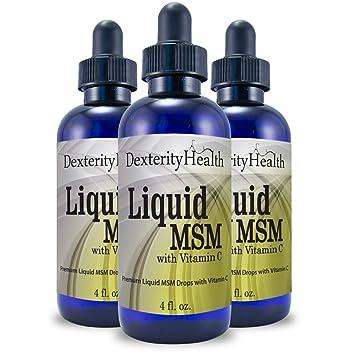 Dexterity Health Liquid MSM Drops, 3-Pack of 4 oz  Dropper-Top Bottles,  100% Sterile, Vegan,