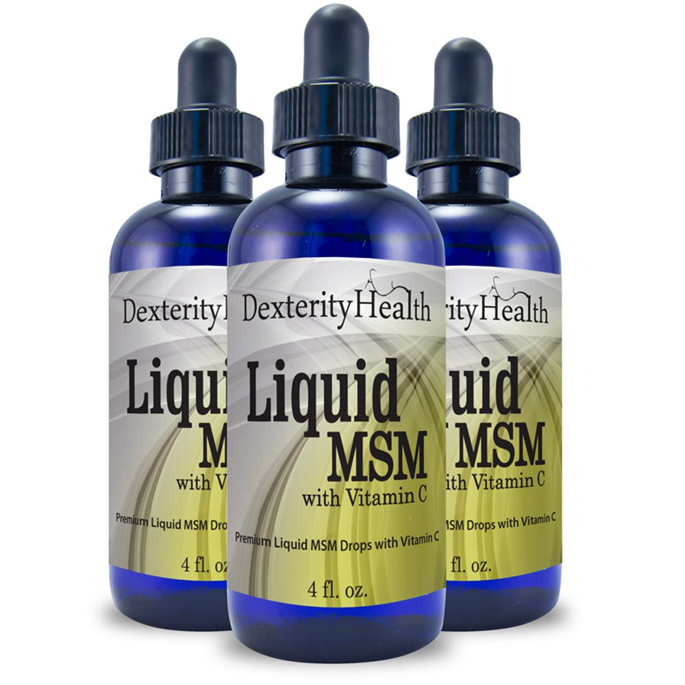 Liquid MSM Drops with Vitamin C, Sterile MSM Eye Drops, Natural Eye Care, Commonly Used to Treat Floaters, 3-Pack of 4 Ounce Bottles, Contains Organic MSM, Dropper-Top Bottle