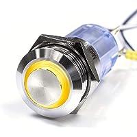 Utstående LED – tryckbrytare – diameter 19 mm – av V2A rostfritt stål – damm- och vattentät enligt IP67 skyddsstandard…