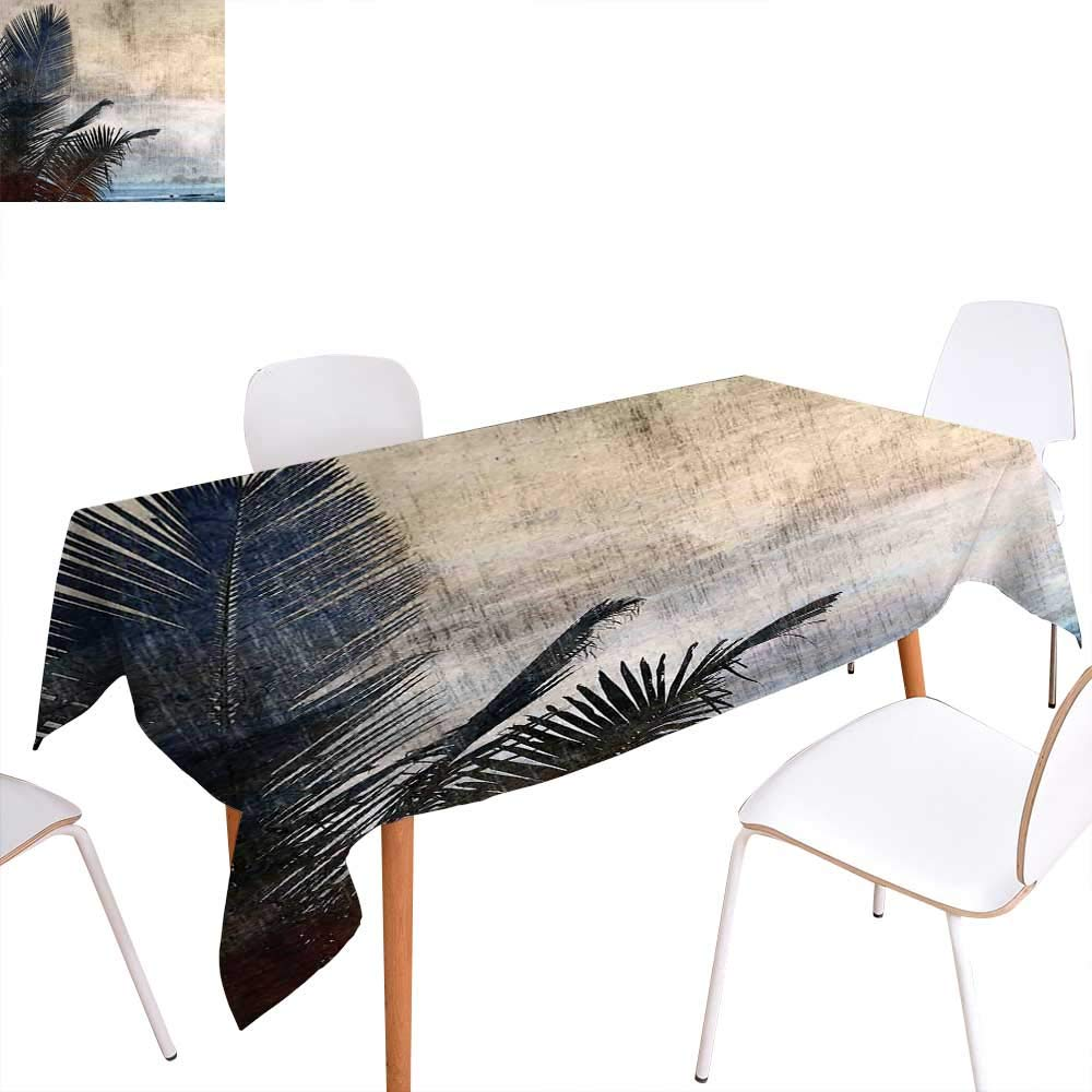 "familytaste Hawaiian Dinning Tabletop Decoration Palm Tree Leaves on Grunge Background with Sea Vintage Waterscape Illustration Table Cover for Kitchen 60""x120"" Beige Navy"