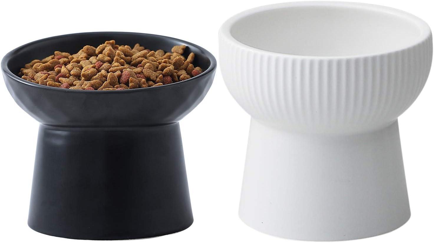 OMAYKEY 15 OZ White Raised Ceramic Cat Pet Food Bowls, Porcelain Tilted Elevated Black Pet Water Bowl Set, Elevated Stress Free Backflow Cat Bowl Dish, Dishwasher and Microwave Safe, 2 Pack