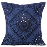 "Eyes of India - 16"" Blue Mirror Embroidered Colorful Sofa Couch Pillow Cushion Cover Decorative Throw Boho Bohemian Indian Cover ONLY"