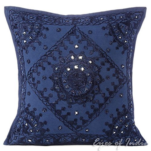 Eyes of India - 16'' Blue Mirror Embroidered Colorful Sofa Couch Pillow Cushion Cover Decorative Throw Boho Bohemian IndianCover Only by Eyes of India