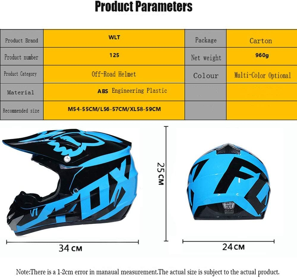 S55~56CM S, M, L, XL K.D D.O.T Certified Adult Motocross Helmet MX Motorcycle Helmet ATV Scooter ATV Helmet Fox Series with Goggles Gloves Windproof Mask