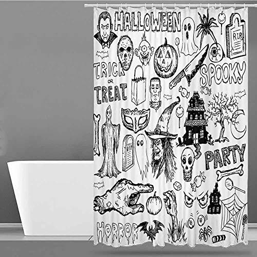 VIVIDX Bathtub Splash Guard,Vintage Halloween,Hand Drawn Halloween Doodle Trick or Treat Party Severed Hand Design,Shower stall Curtain,W60x72L Black White