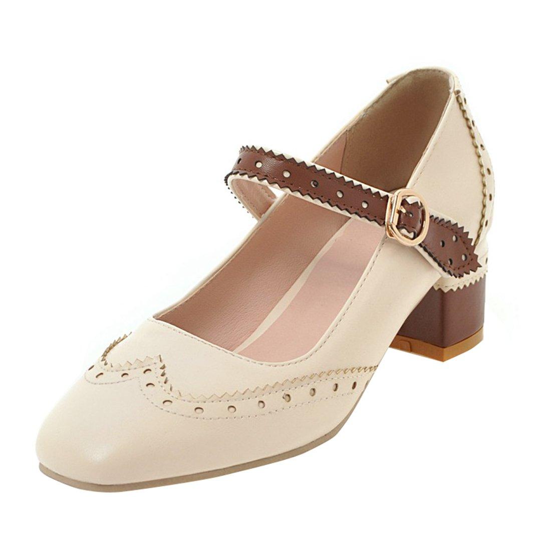 YE Damen Mary Janes Brogue Pumps Blockabsatz High Heels mit Riemchen Elegant Schuhe  37 EU|Beige