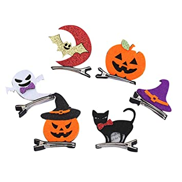 Halloween Pumpkin Cartoon Images.Amazon Com 6pcs Halloween Hair Clip Lovely Cartoon Felt