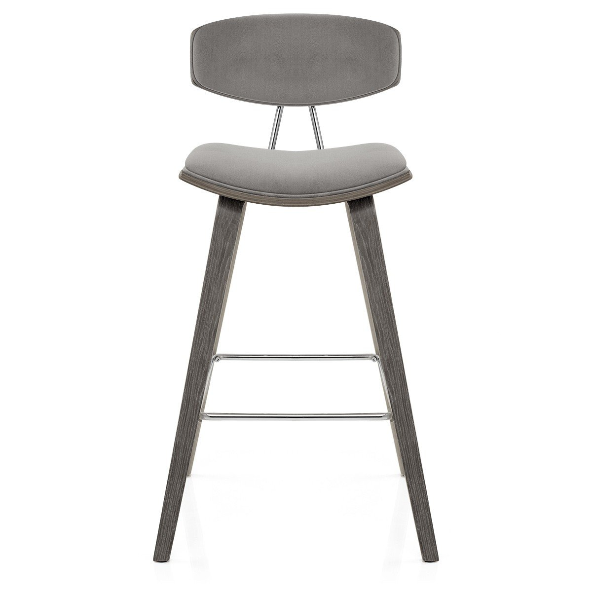 Atlantic Shopping Henley Wooden Stool Grey Velvet