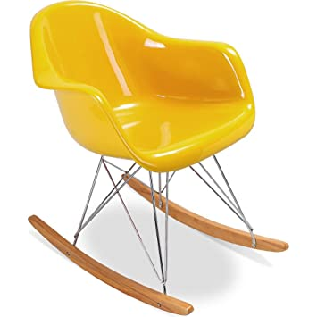 Chaise A Bascule Rar Charles Eames Style Fibre De Verre Brillant