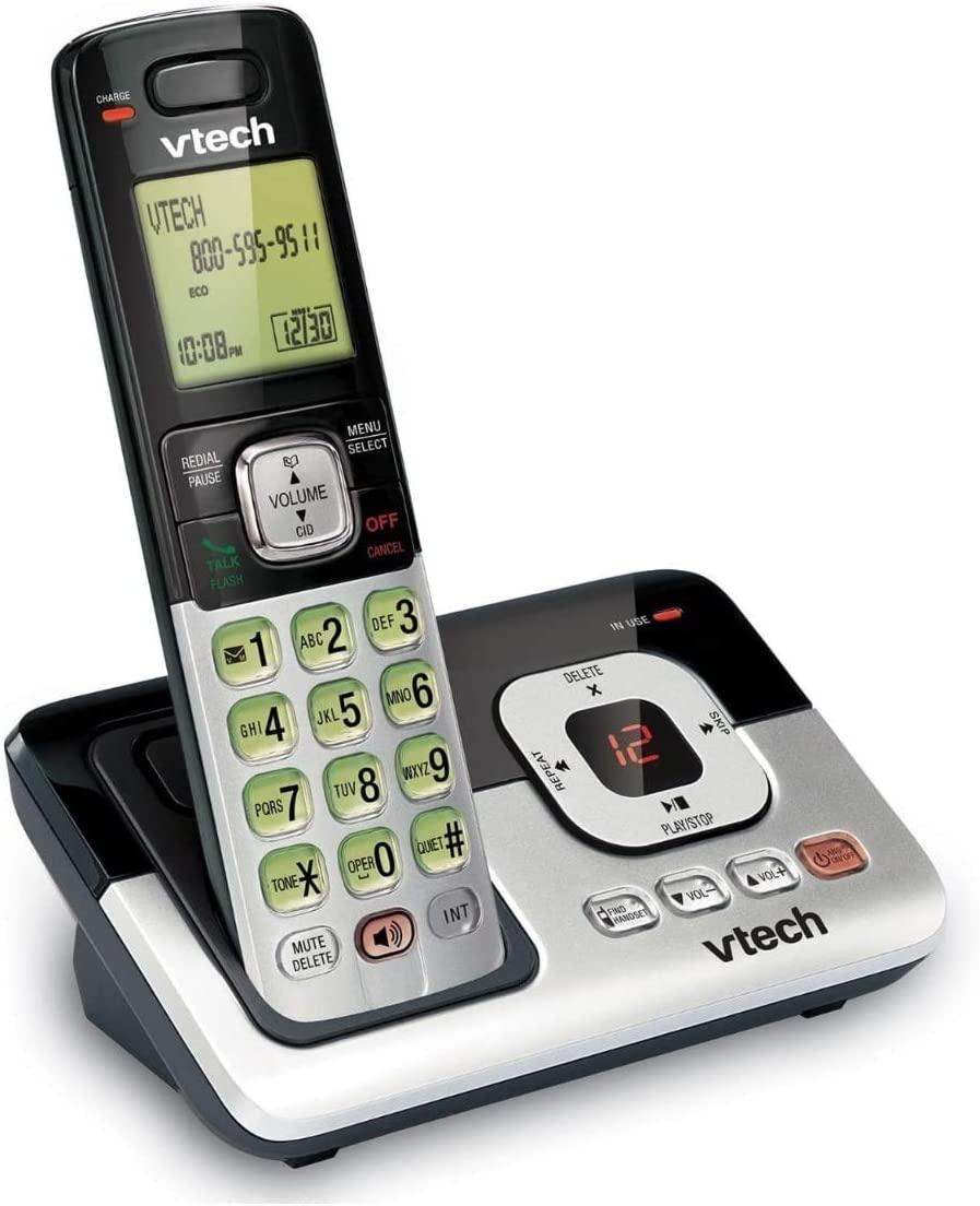 VTech CS6829 DECT6.0 Cordless Phone for Home with Answering System, Caller ID/Call Waiting, Backlit Keypad and Display, Full Duplex Handset Speakphone, Hearing Aid Compatable, Expandable to 5 HS, (Si