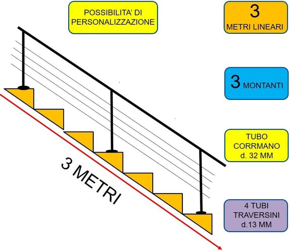 1.5 mt parete Parpyon/® Ringhiera Scala in acciaio Inox AISI 304 Tubo Corrimano 1-3 metri Fissaggio a PARETE PAVIMENTO montaggio FACILE fai da te Passamano Parapetti scale