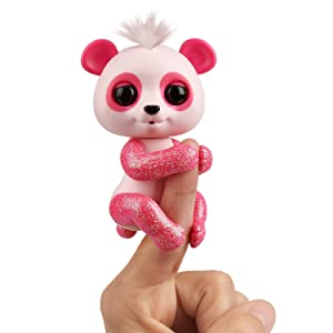 Fingerlings Glitter Panda -Polly (Pink) - Interactive Collectible Baby Pet - by WowWee