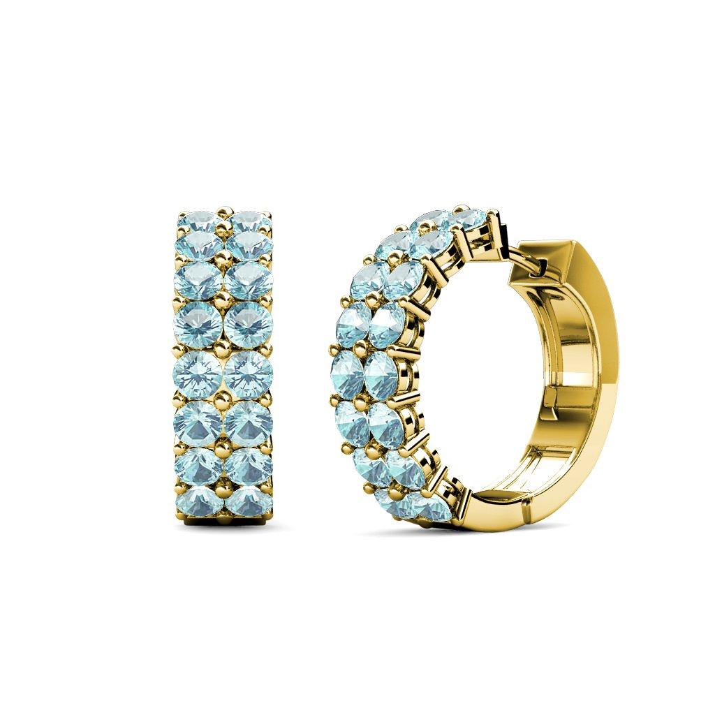 TriJewels Aquamarine Double Row Hoop Earrings 1.20 ctw in 14K Yellow Gold