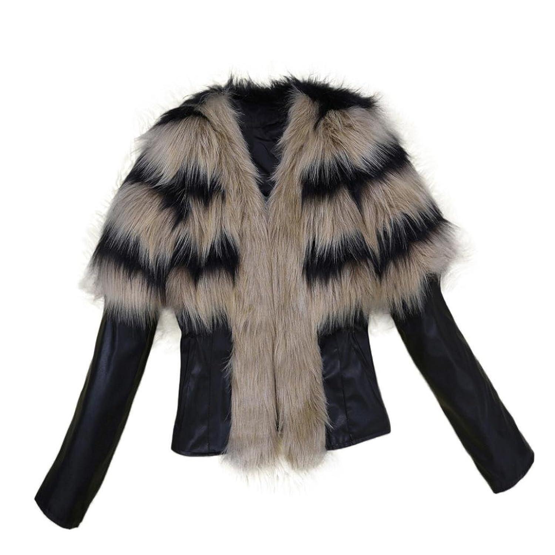 Vovomay Women Fur Collar Coat Leather Jacket Overcoat Parka Winter Outwear Warm