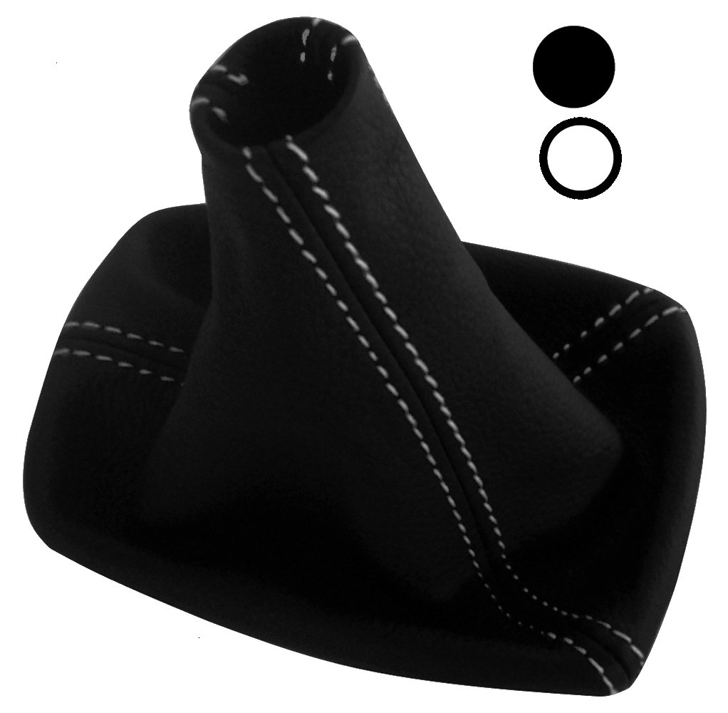Soufflet levier de vitesse en 100/% CUIR v/éritable avec coutures//surpiq/ûres blanches Aerzetix