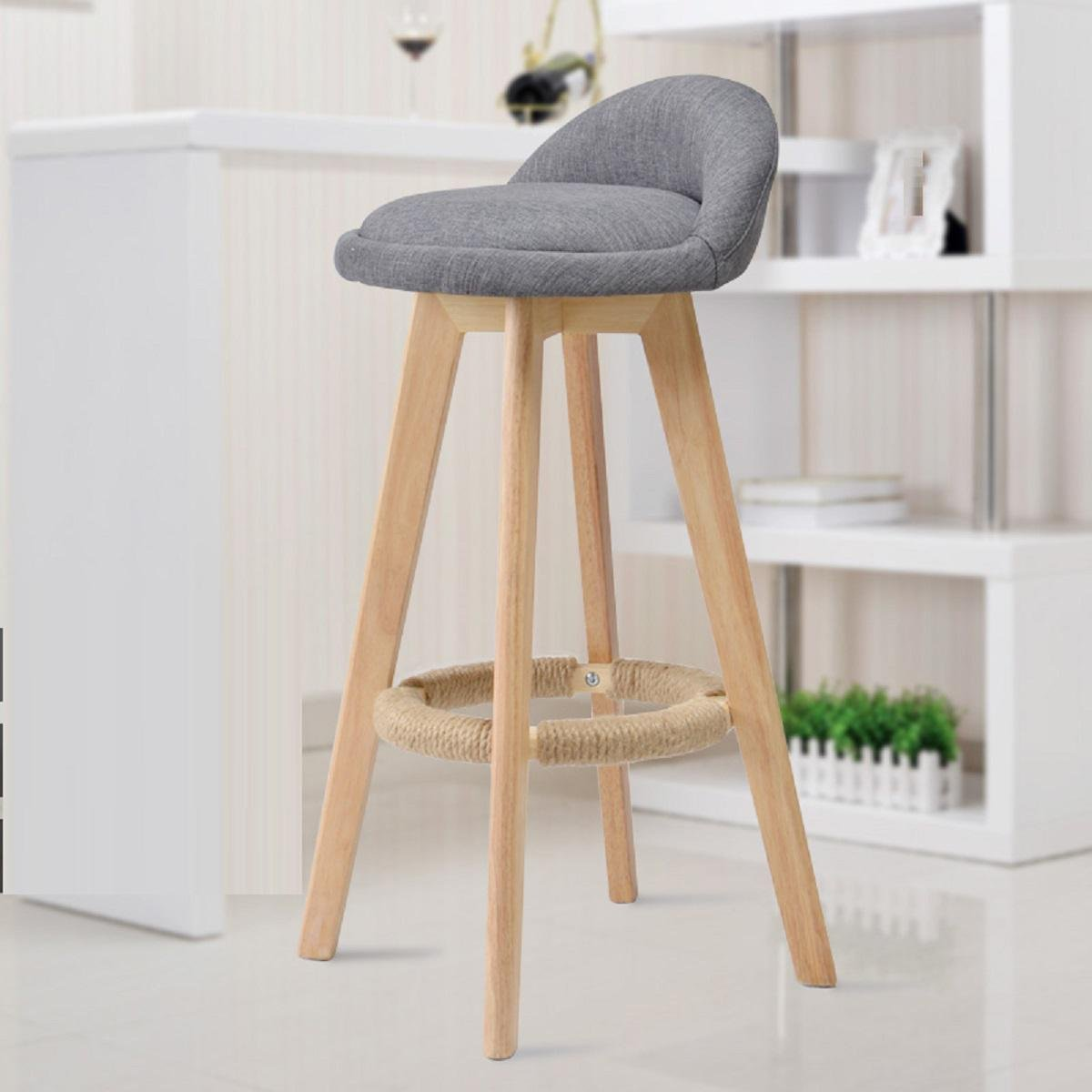 GAOJIAN Solid Wood Bar Chair Creative High Chair European Style Bar Chair Wood Front Desk Retro Bar Stool High Feet Stools , b by GAOJIAN