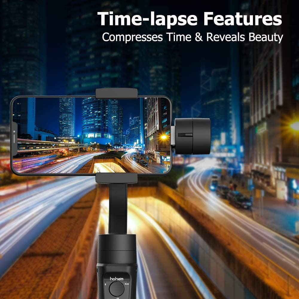 Hohem 3-Axis Gimbal Stabilizer for iPhone 11 PRO X XR XS Smartphone w//Inception Sport Mode Object Face Tracking Motion Time-Lapse Quick Balance Handheld Gimbal for Vlog Youtuber Live Video