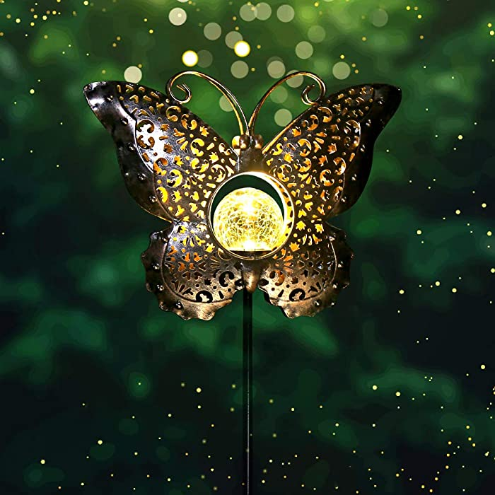 newvivid Outdoor Solar Garden LED Light, Solar Butterfly Metal Lights Decoration Housewarming Gifts for Women Mom, Garden Stake Light for Pathway Yard Lawn Patio Landscape Decor