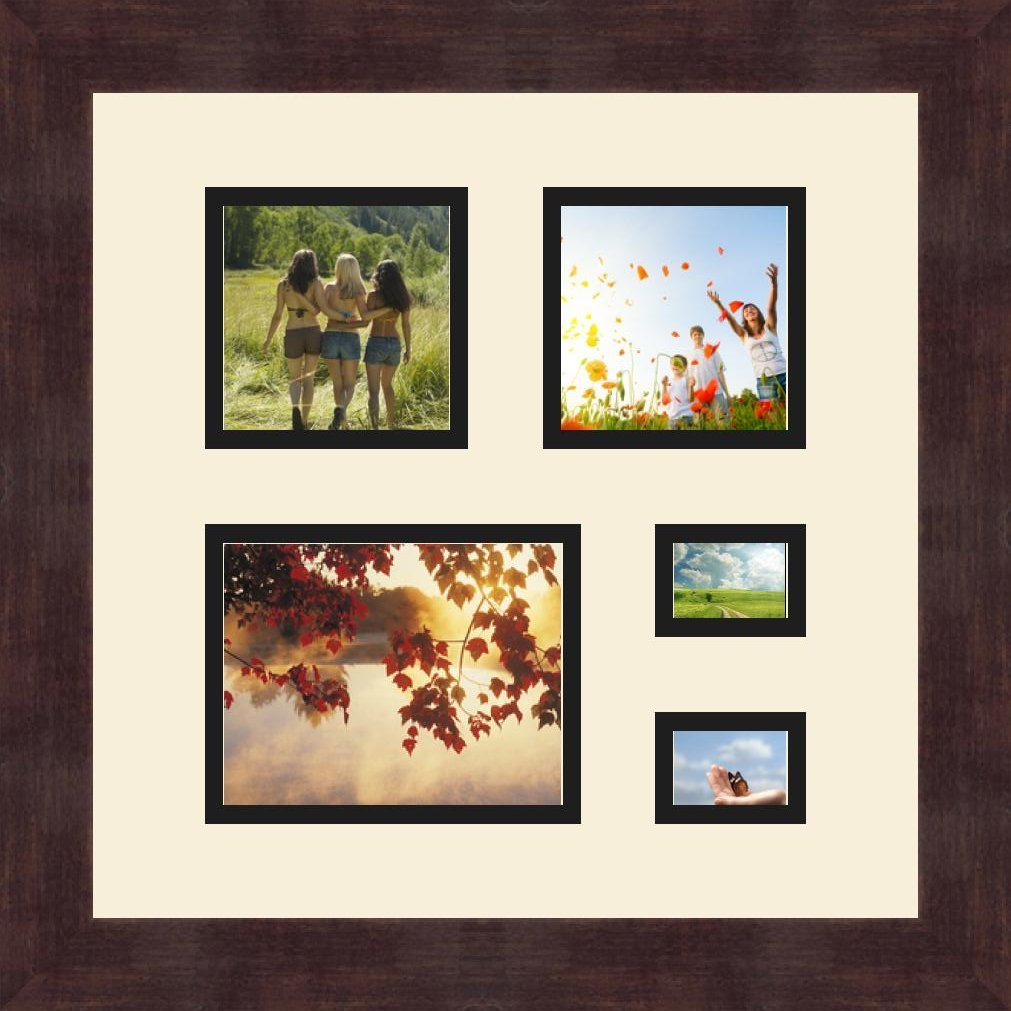 Art to Frames Double-Multimat-311-825//89-FRBW26061 Collage Frame Photo Mat Double Mat with 1-4x5 and 2-3.5x3.5 and 2-1.5x2 Openings and Espresso Frame