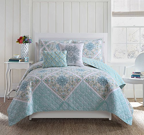 Queen Size Quilt Set in Aqua Charming Colorful Beautiful Blanket 5 Pc Set w/ Decorative Pillows