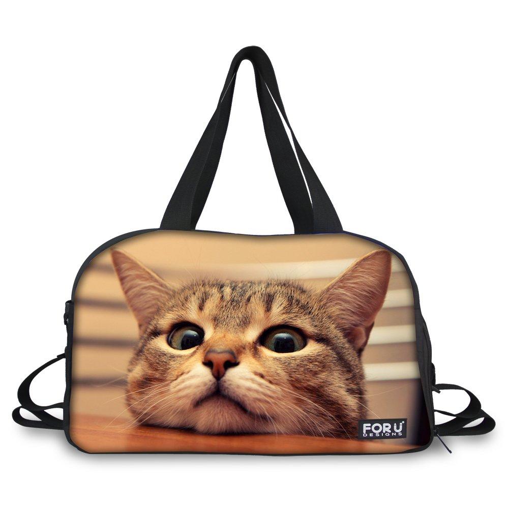 HUGS IDEA Cute Pet Cat Print Women Travel Large Tote Hangbag Shoulder Bag Gym Sports Diapers Duffles
