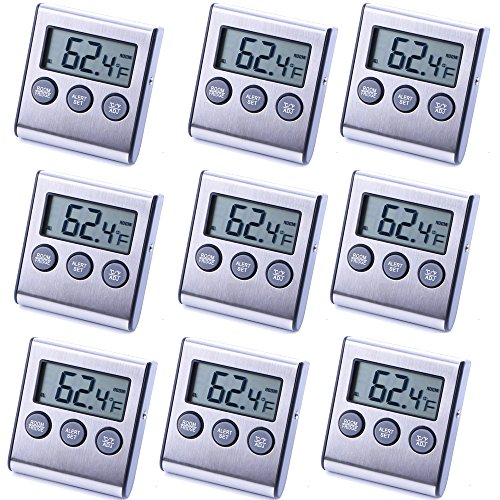 9 Pack Digital Refrigerator Freezer Thermometer,High/Low Temperature Alarms Settings by LinkDm